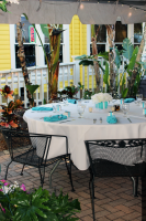 Wedding tables at outside reception