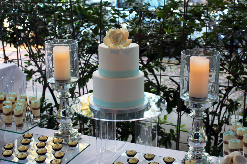 Dessert table at a wedding with the bridal  cake