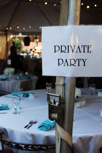 Wedding with a private party sign