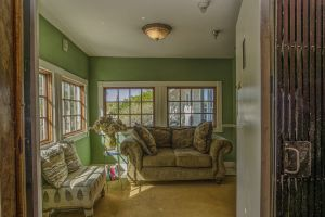 Window View of green room with a couch