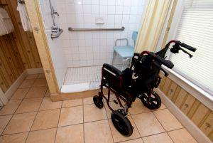 wheelchair in the Casablanca Suite shower