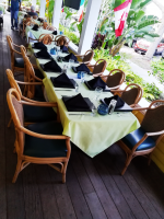 long dining table with linens