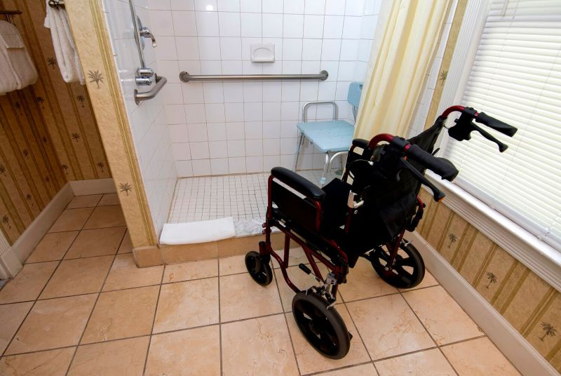 wheelchair in the Casablanca Suite shower