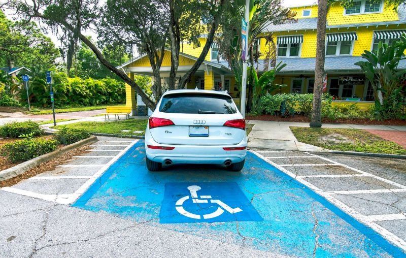 Car in a handicap parking spot