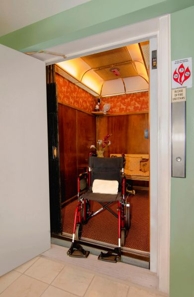 wheelchair in an elevator