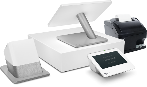 Image of Clover POS terminal, cash drawer, receipt printer, and card swiper