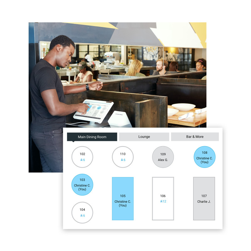 Image of a waiter using a POS system