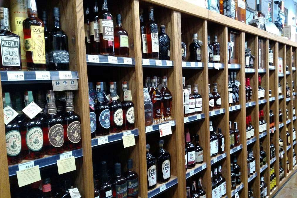 Shelves of Spirits in the store