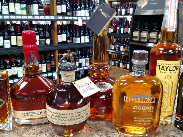 Bourbons on display in the store