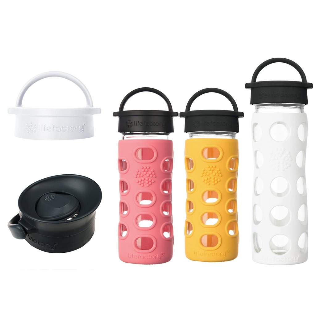 12 oz Glass Water Bottles Classic Cap, 16 oz Glass Water Bottle Classic Cap, Classic Cap and Press-N-Go Cap for 12, 16 & 22 oz Bottles. (Coral, Marigold, Optic White)