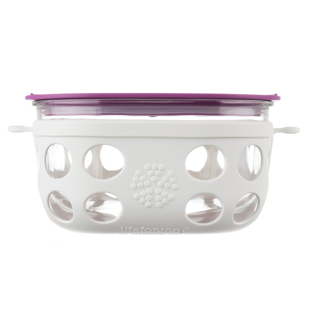 4 Cup Glass Food Storage with Silicone Sleeve, Optic White/Huckleberry