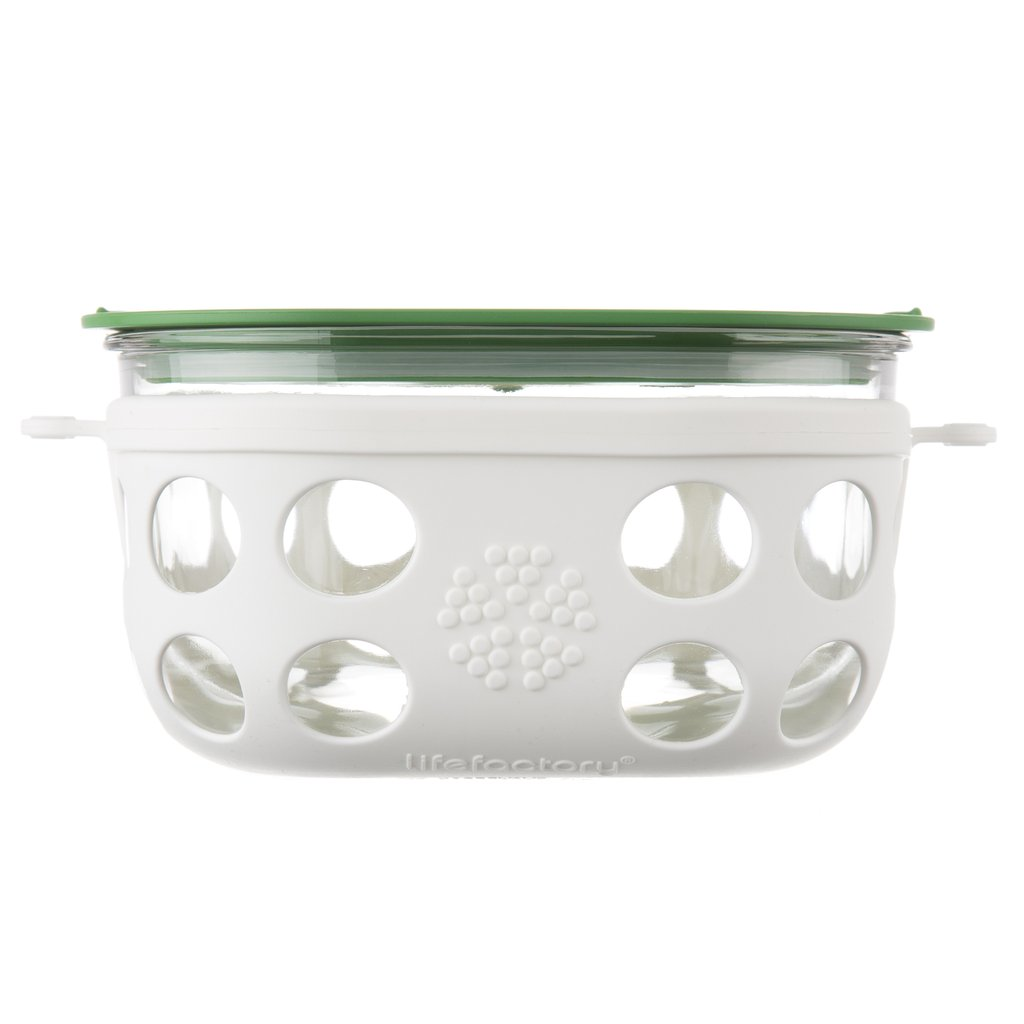 4 Cup Glass Food Storage with Silicone Sleeve, Optic White/Grass Green