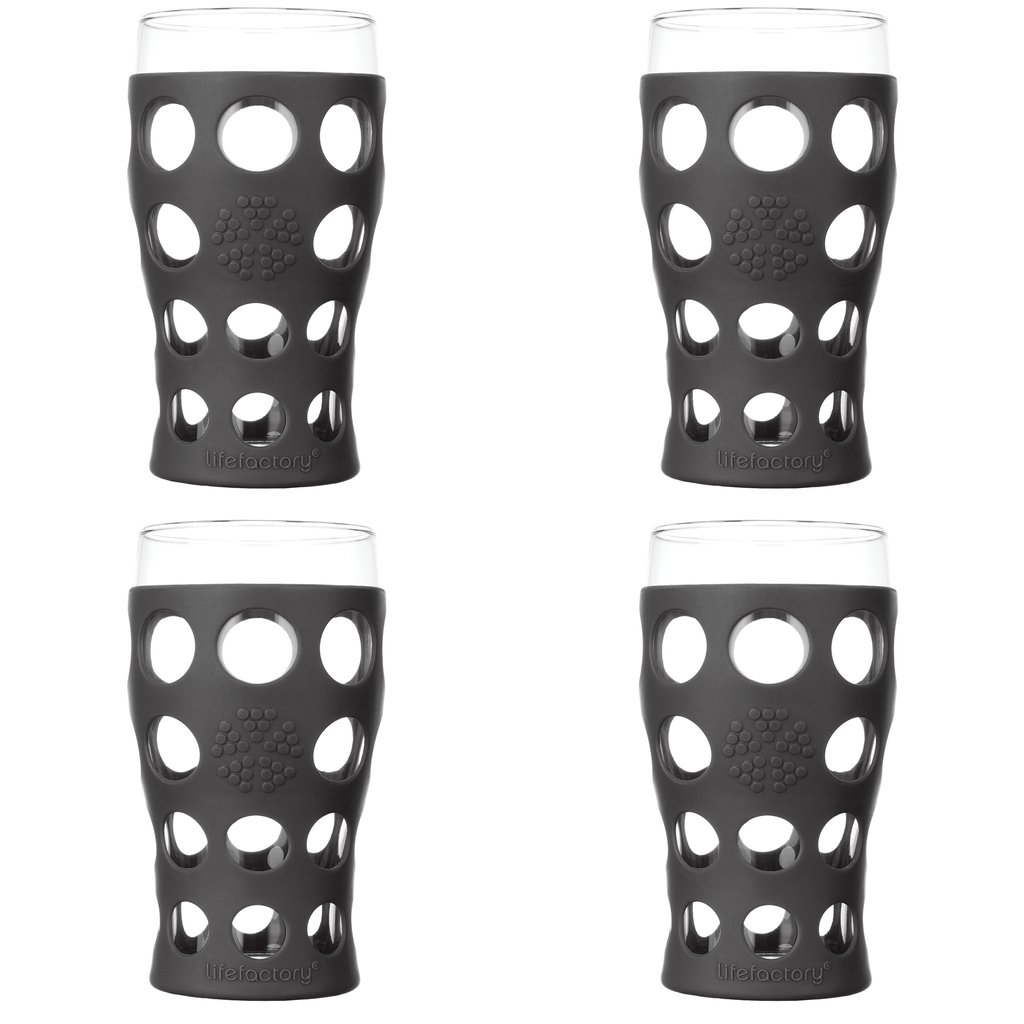 20 oz Beverage Glass 4 Pack with Silicone Sleeves, Carbon