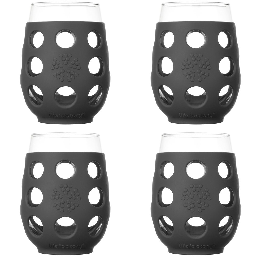 17 oz Wine Glass 4 Pack with Silicone Sleeves, Carbon