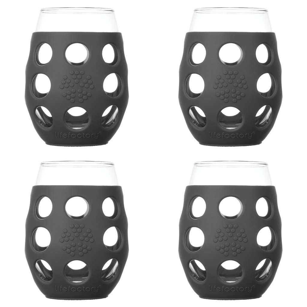 11 oz Wine Glass 4 Pack with Silicone Sleeves, Carbon