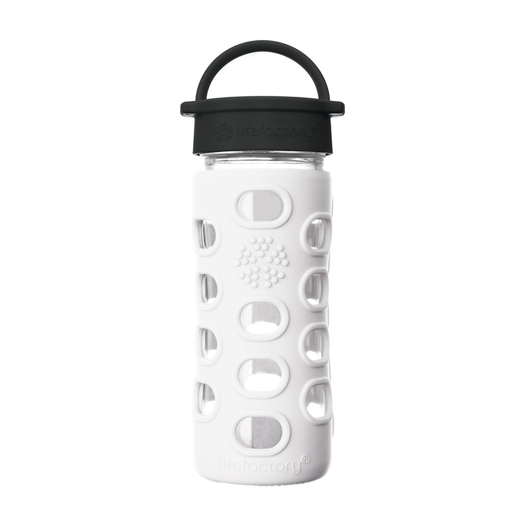 12 oz Glass Water Bottle with Classic Cap and Silicone Sleeve - Optic White