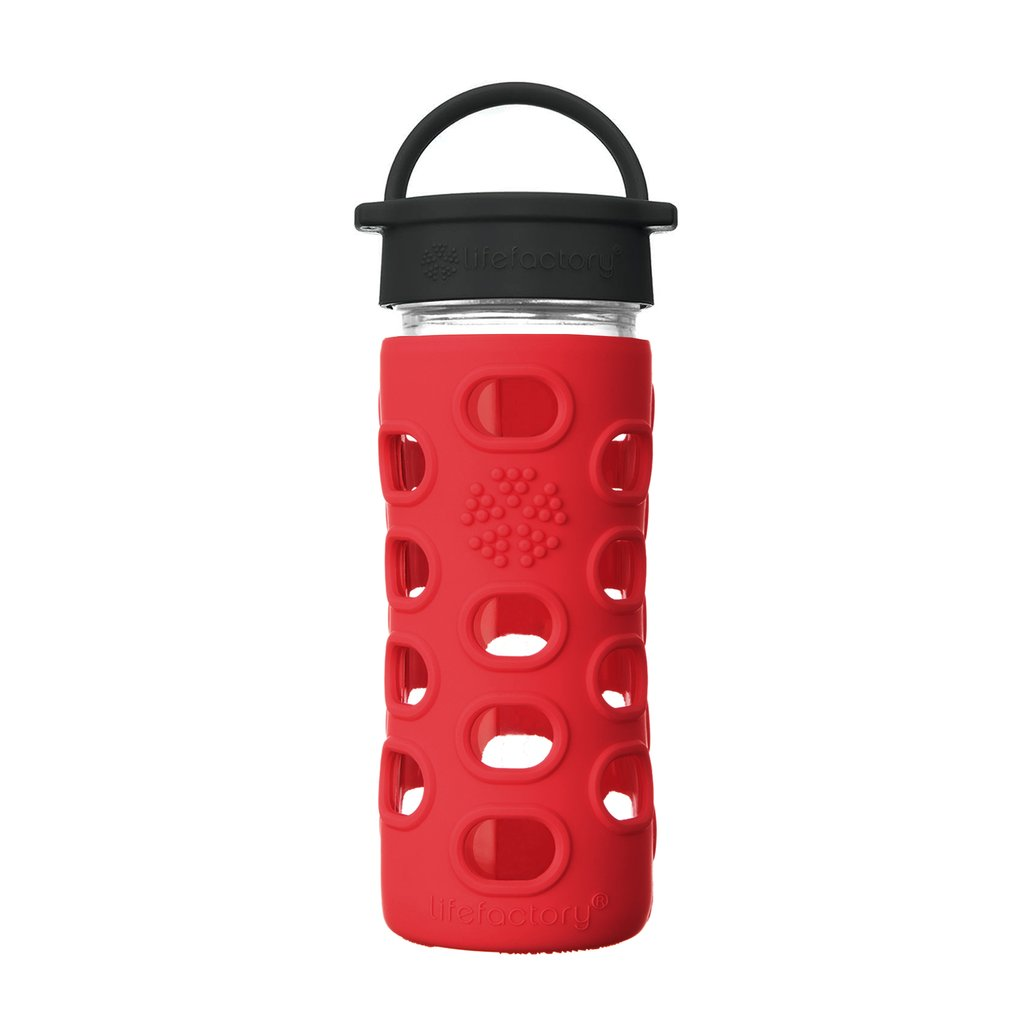 12 oz Glass Water Bottle with Classic Cap and Silicone Sleeve - Apple Red
