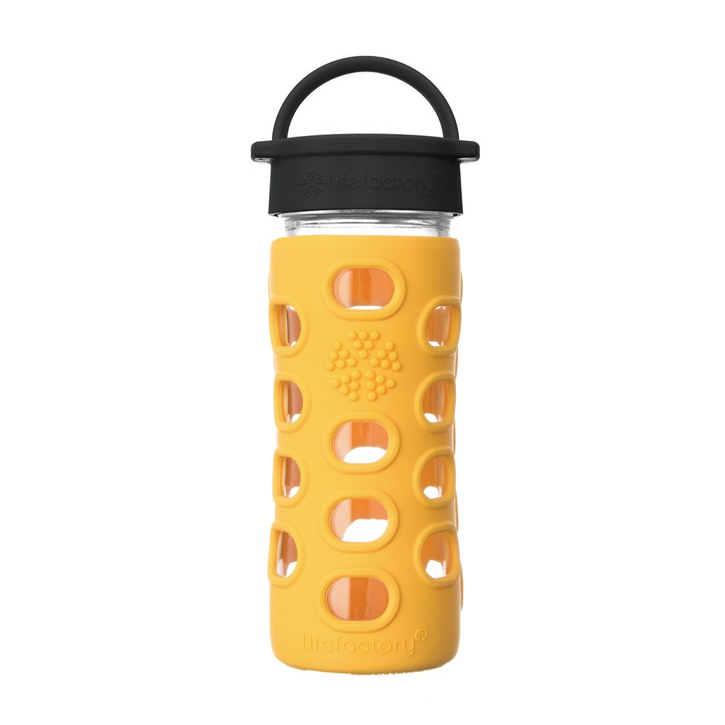 12 oz Glass Water Bottle with Classic Cap and Silicone Sleeve - Marigold
