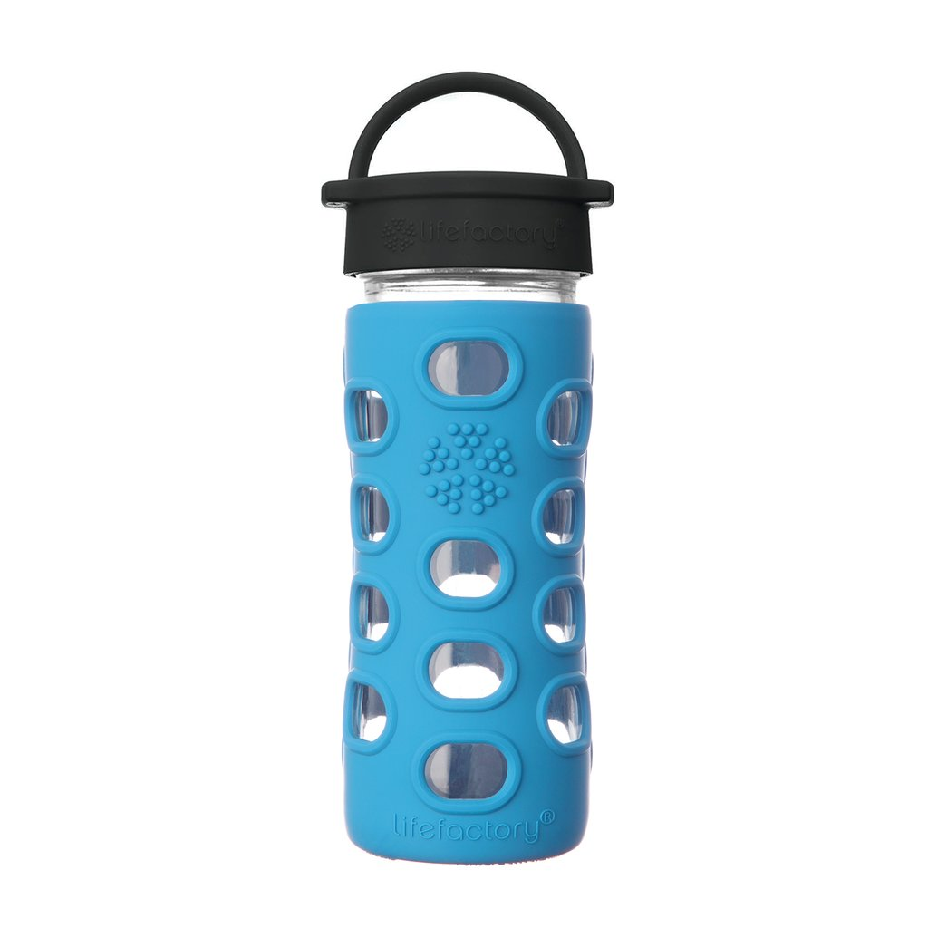 12 oz Glass Water Bottle with Classic Cap and Silicone Sleeve - Ocean