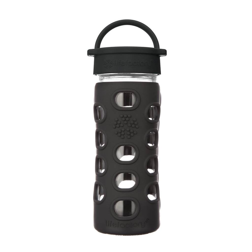 12 oz Glass Water Bottle with Classic Cap and Silicone Sleeve - Onyx