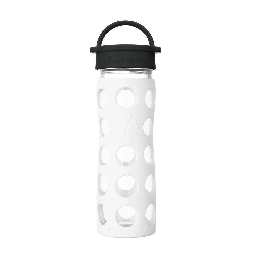 16 oz Glass Water Bottle with Classic Cap and Silicone Sleeve - Optic White