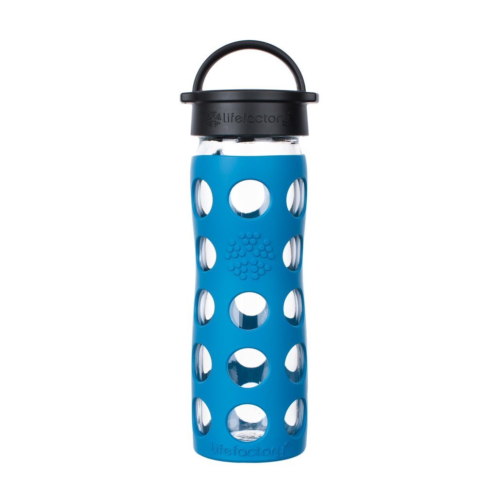 16 oz Glass Water Bottle with Classic Cap and Silicone Sleeve - Teal Lake