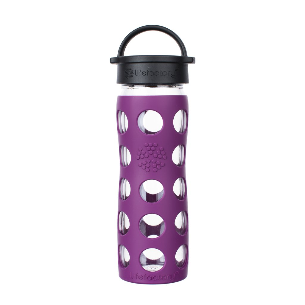 16 oz Glass Water Bottle with Classic Cap and Silicone Sleeve - Plum