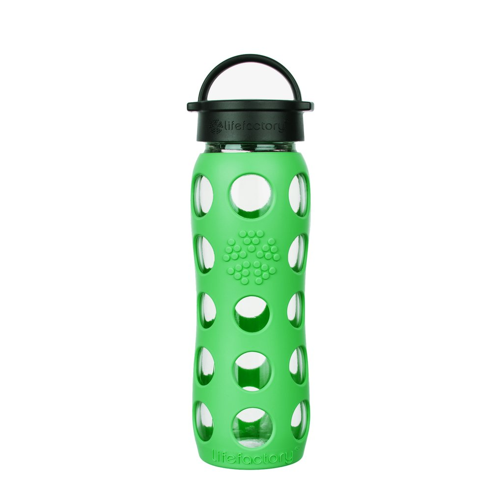 22 oz Glass Water Bottle with Classic Cap and Silicone Sleeve - Moss