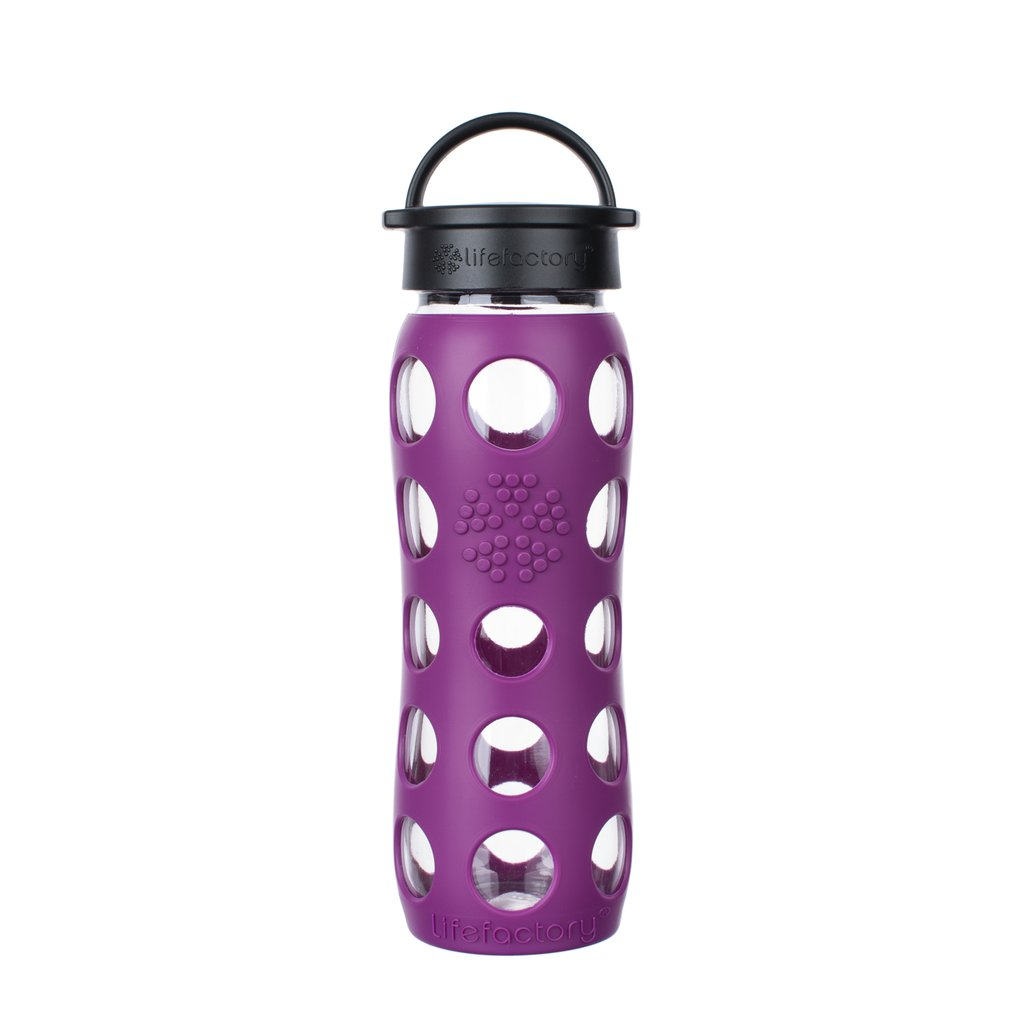 22 oz Glass Water Bottle with Classic Cap and Silicone Sleeve Core - Plum
