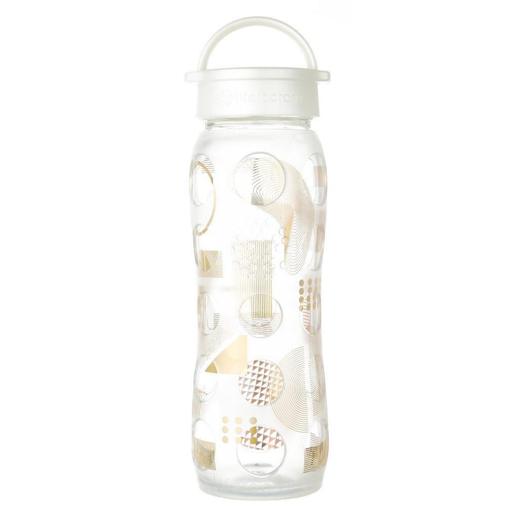 22 oz Glass Bottle with Classic Cap with Fused Gold, Clear Moderniste