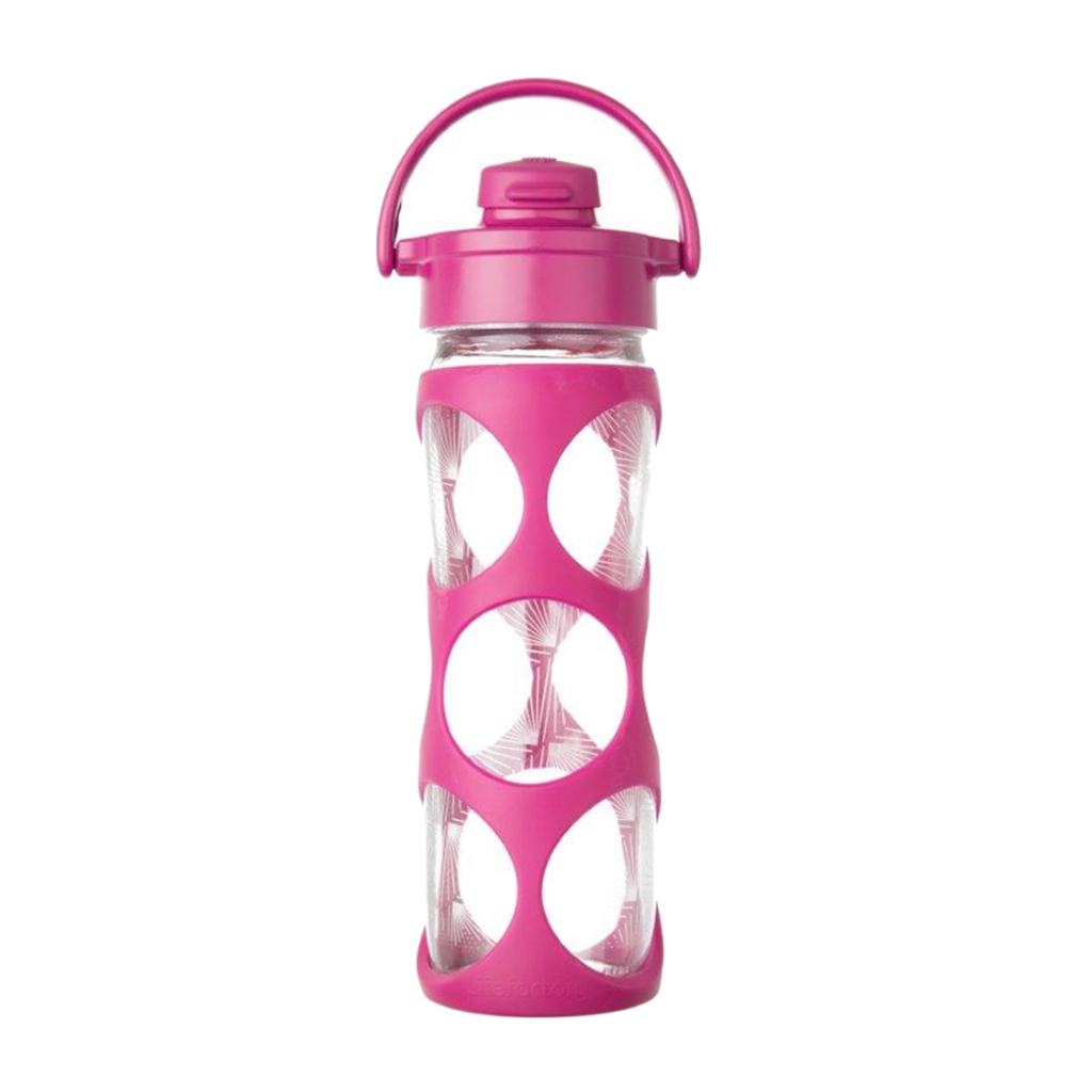 16 oz Glass Bottle with Active Flip Top Cap and Silicone Sleeve - Hot Pink