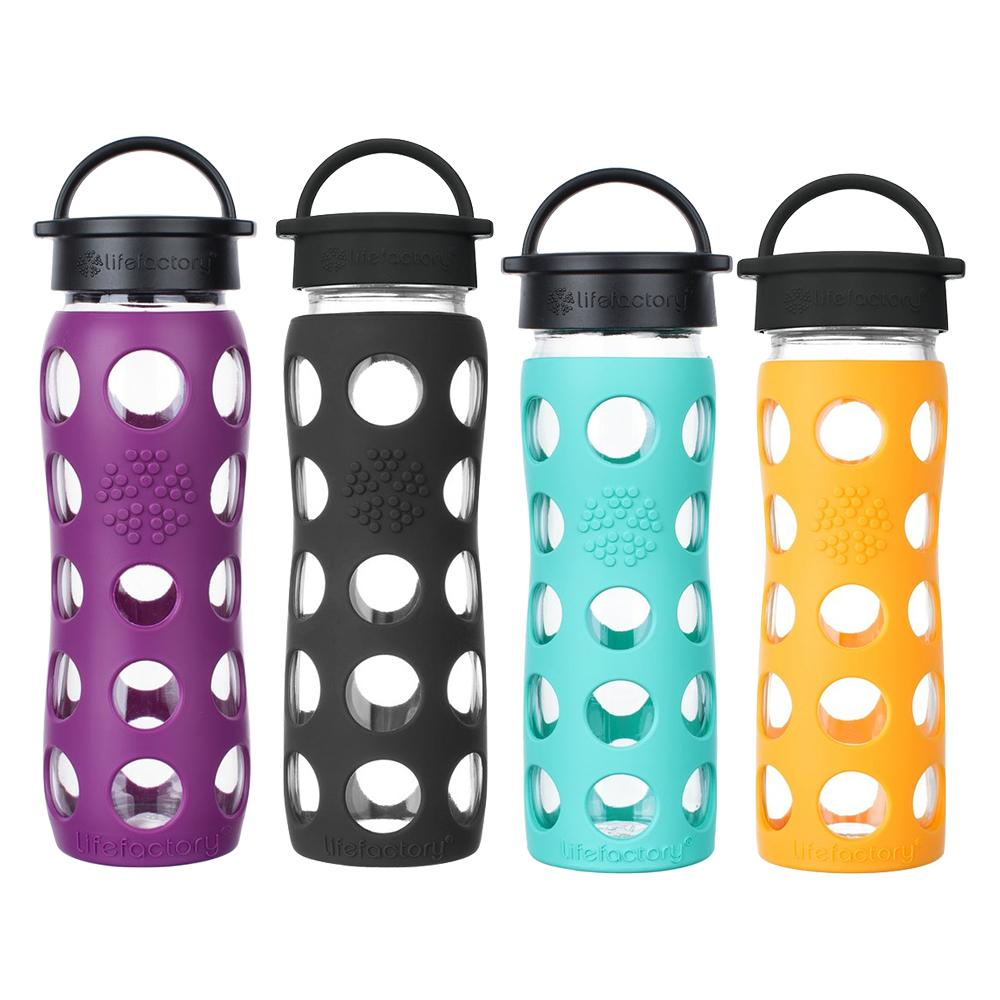 22 oz Glass Water Bottles with Classic Cap (Plum, Onyx) & 16 oz Glass Water Bottles with Classic Cap (Marigold, Sea Green)