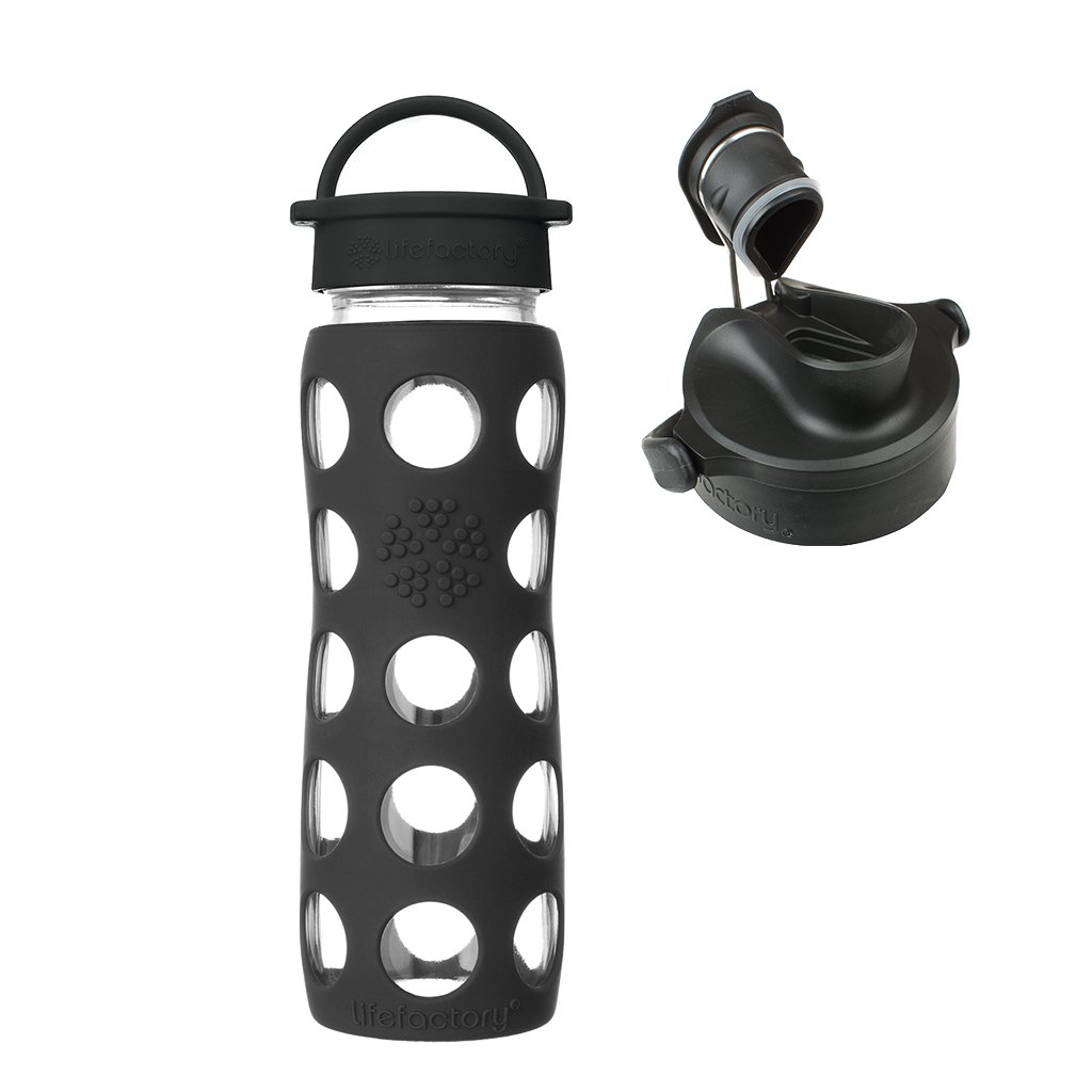 22 oz Onyx Glass Water Bottle with Classic Cap, Silicone Sleeve & Onyx Active Flip Cap