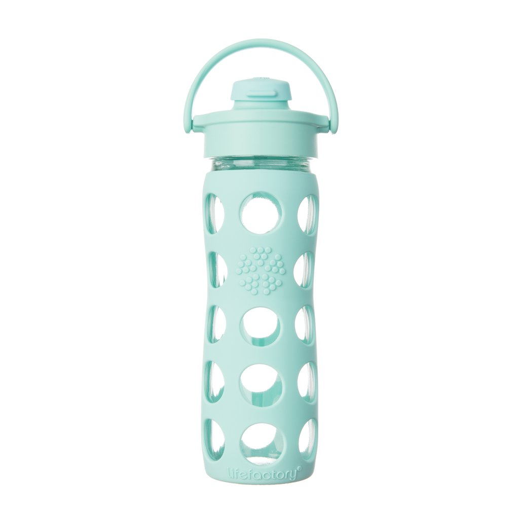 16 oz Glass Bottle with Flip Cap - Turquoise