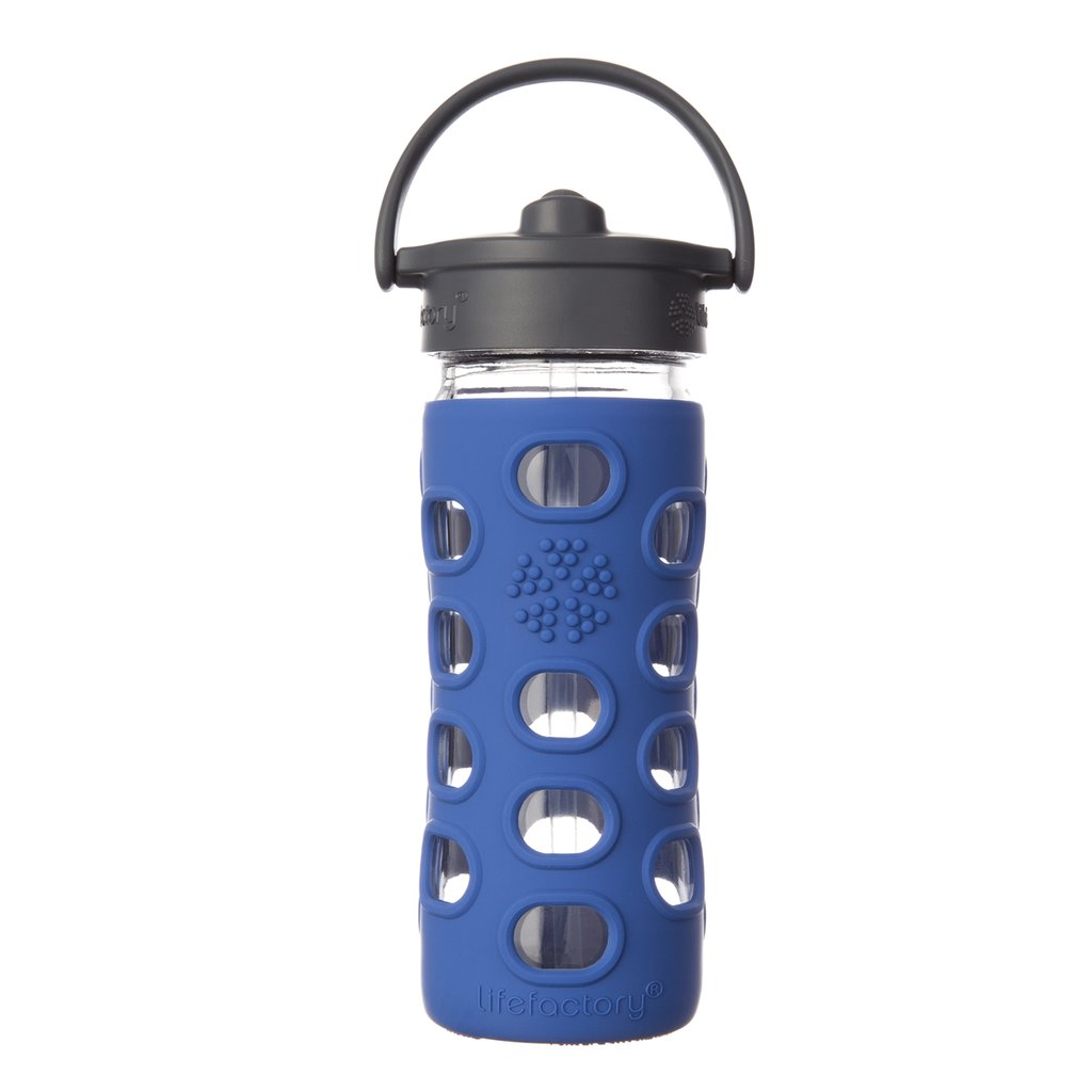 12 oz Glass Water Bottle with Straw Cap - Cobalt