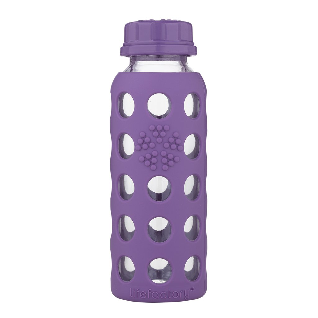 9 oz Glass Water Bottle with Flat Cap and Silicone Sleeve, Grape