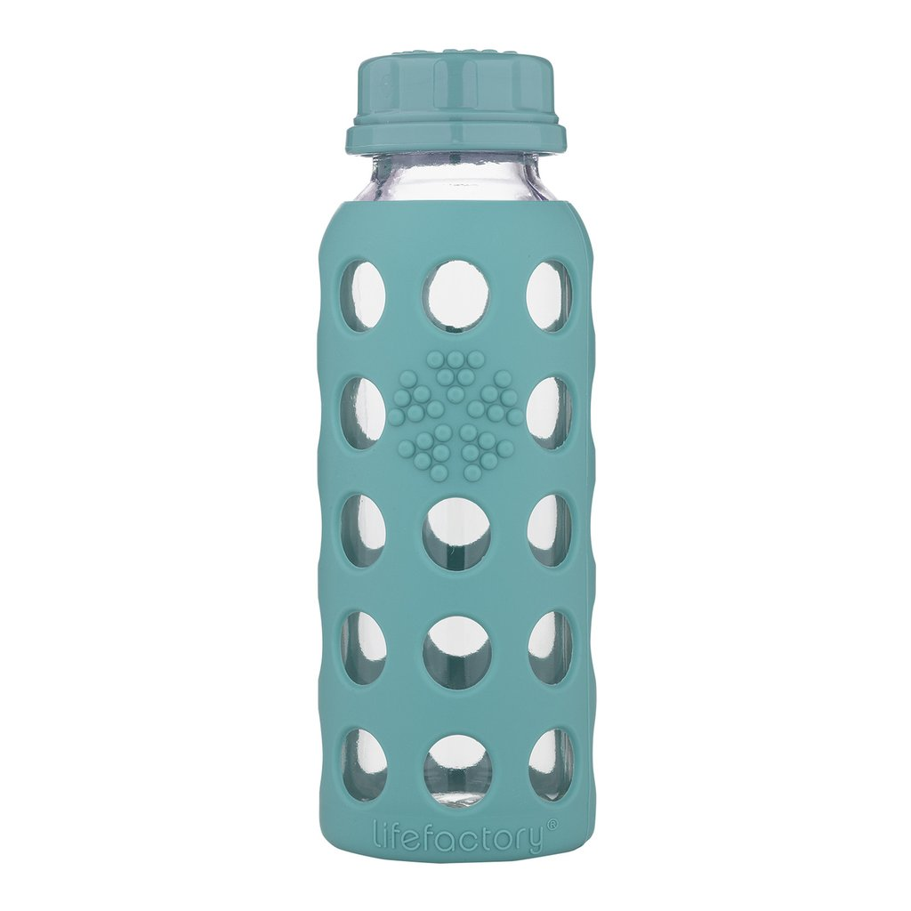 9 oz Glass Water Bottle with Flat Cap and Silicone Sleeve, Kale