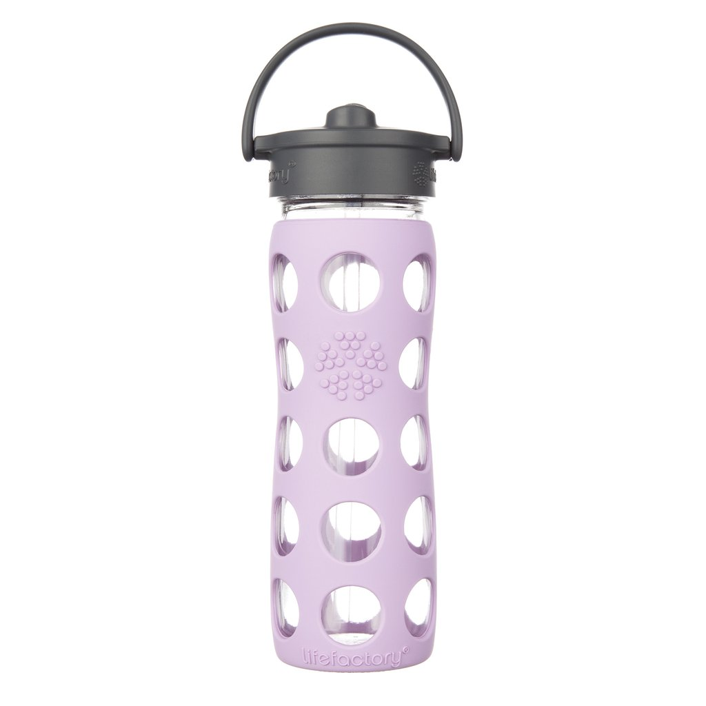 16 oz Glass Water Bottle with Straw Cap and Silicone Sleeve, Lilac