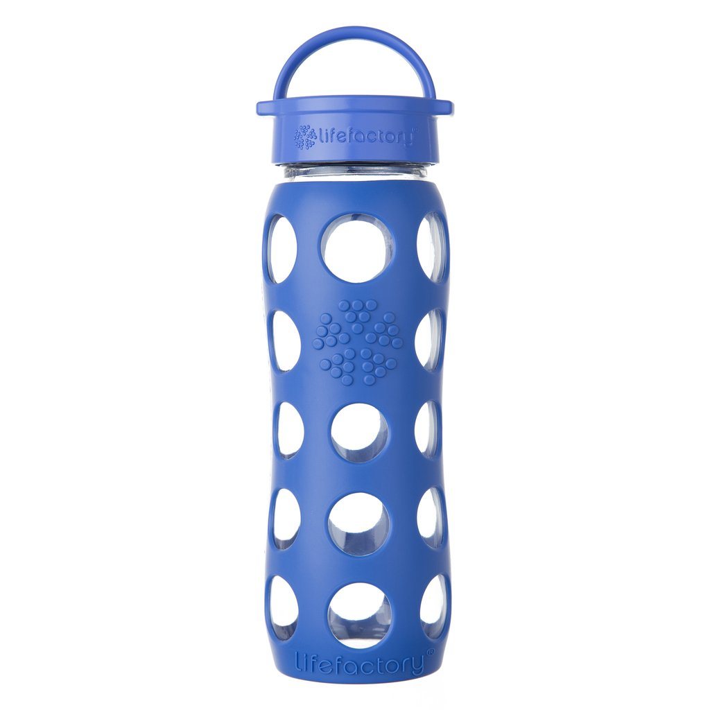 22 oz Glass Water Bottle with Classic Cap and Silicone Sleeve, Cobalt