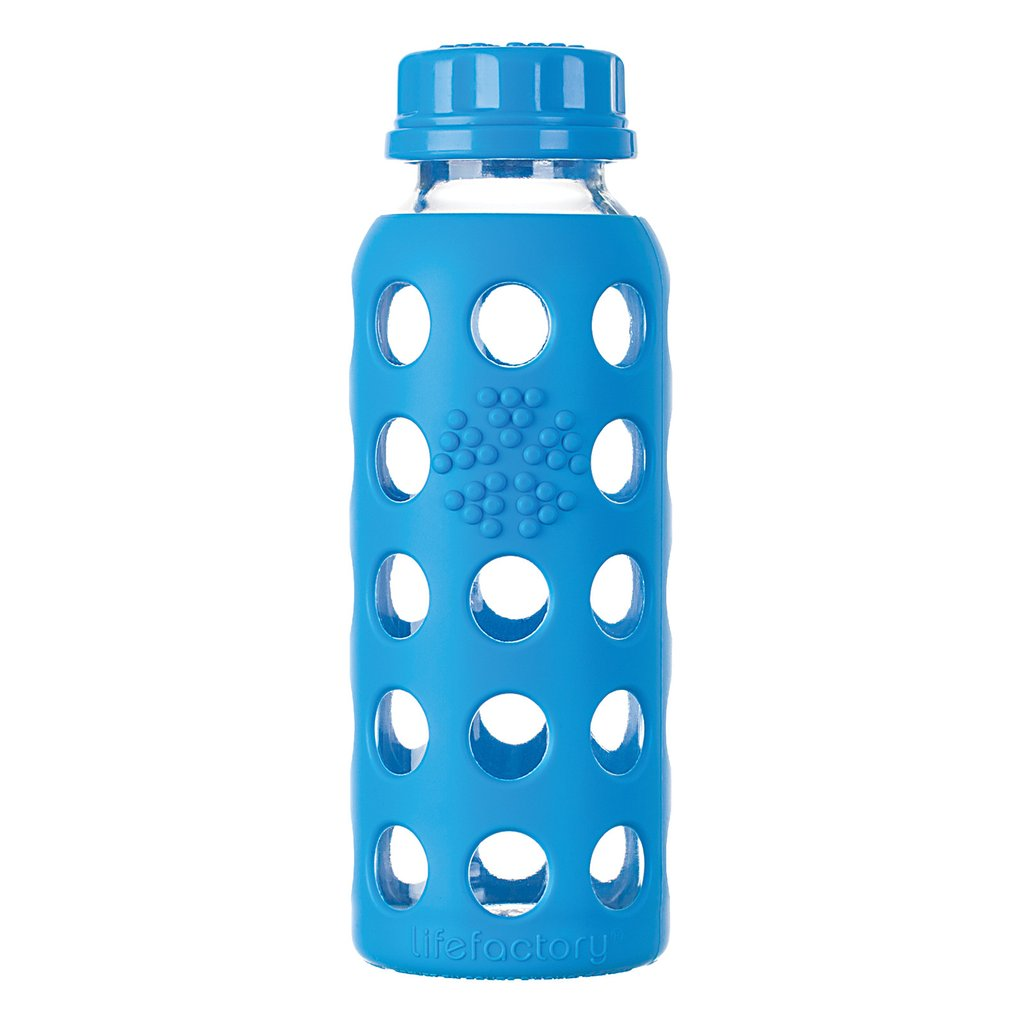 9 oz Glass Water Bottle with Flat Cap and Silicone Sleeve, Ocean