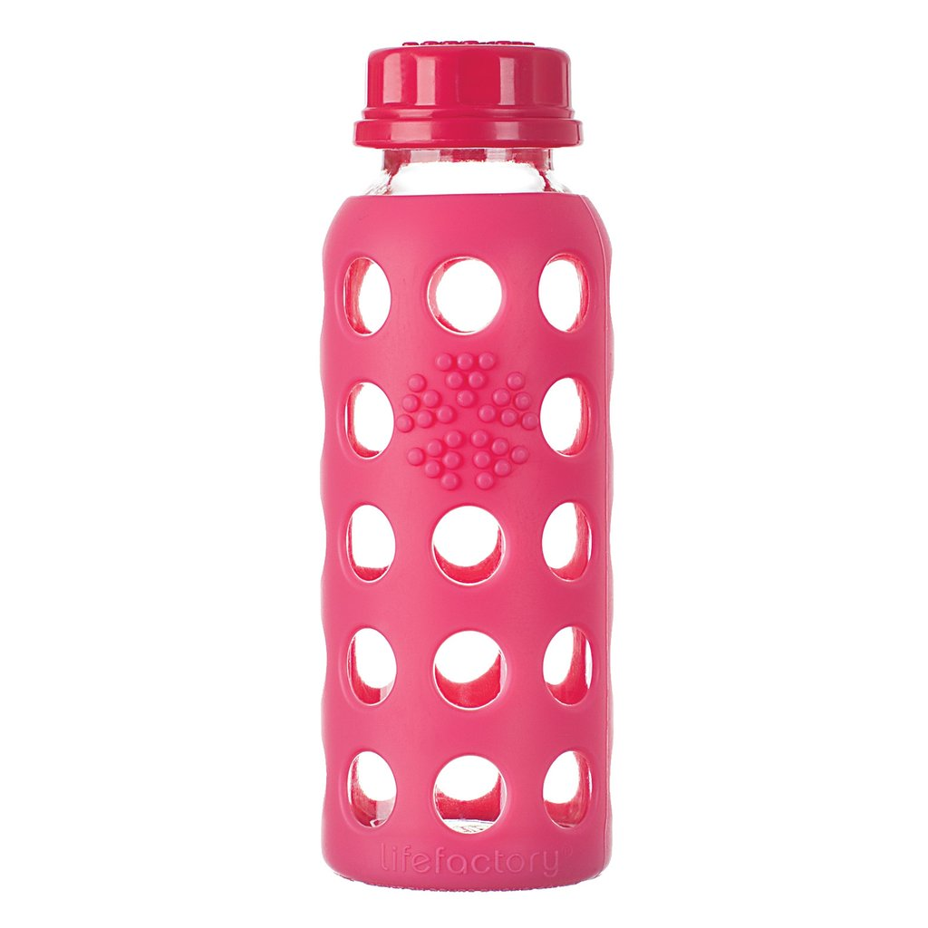 9 oz Glass Water Bottle with Flat Cap and Silicone Sleeve, Raspberry