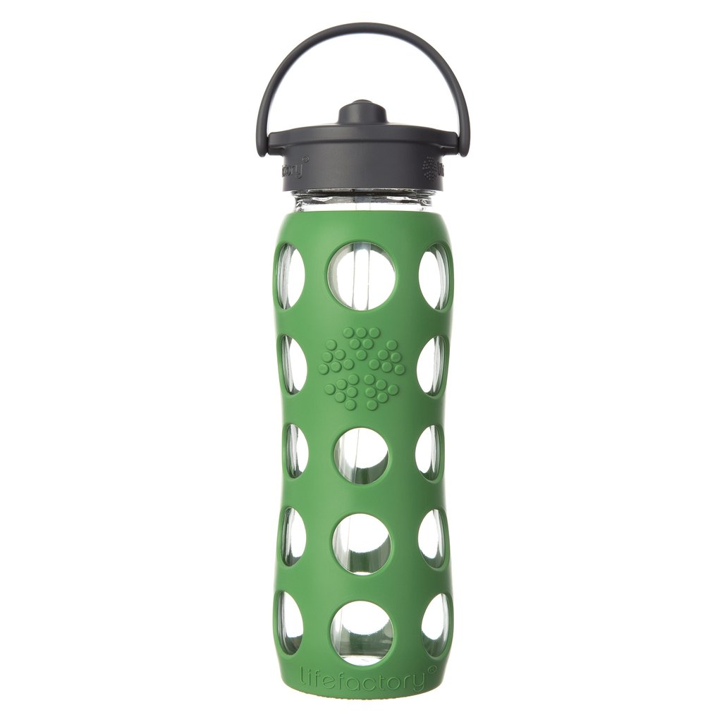 22 oz Glass Water Bottle with Straw Cap and Silicone Sleeve, Grass Green