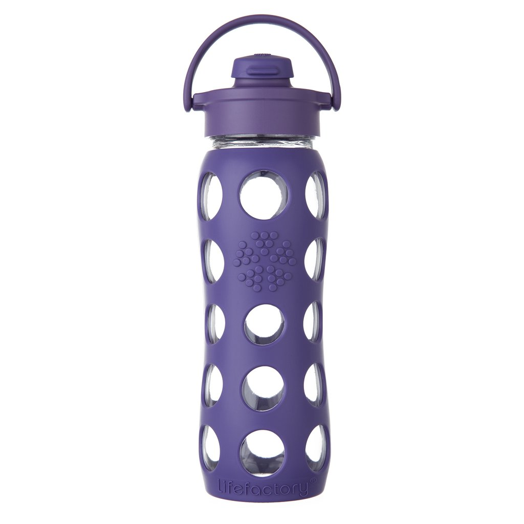 22 oz Glass Water Bottle with Flip Cap and Silicone Sleeve, Royal Purple
