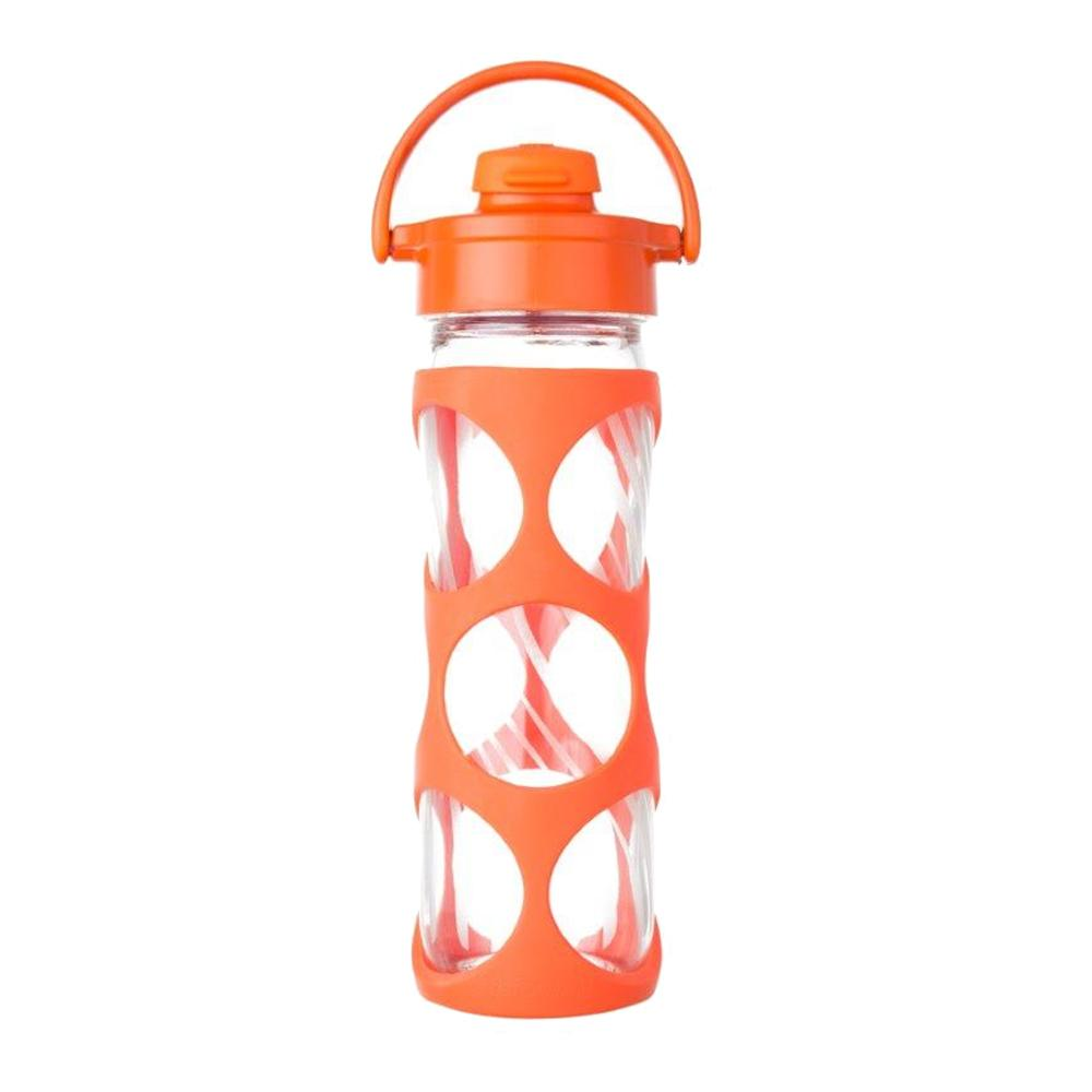 16 oz Glass Bottle with Flip Top Cap and Silicone Sleeve - Bright Orange