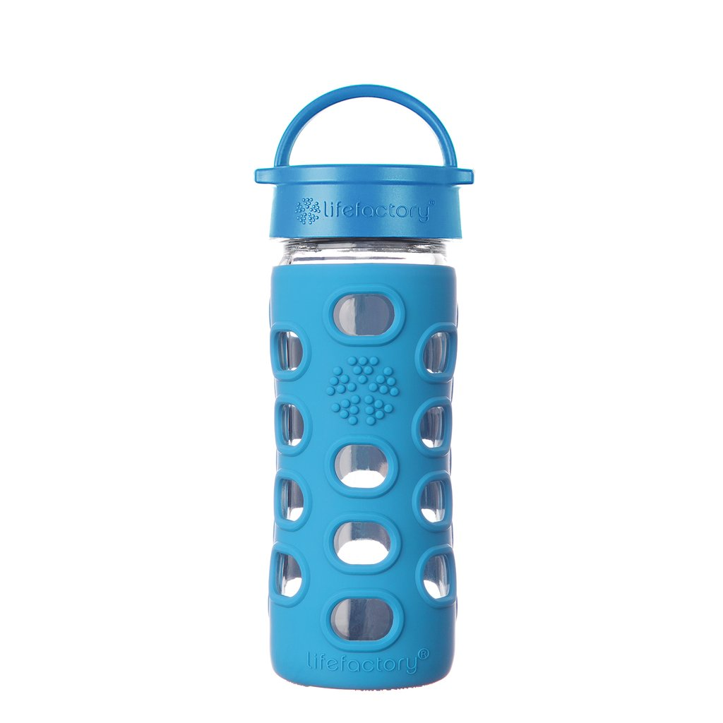 12 oz Glass Bottle with Classic Cap and Silicone Sleeve - Ocean