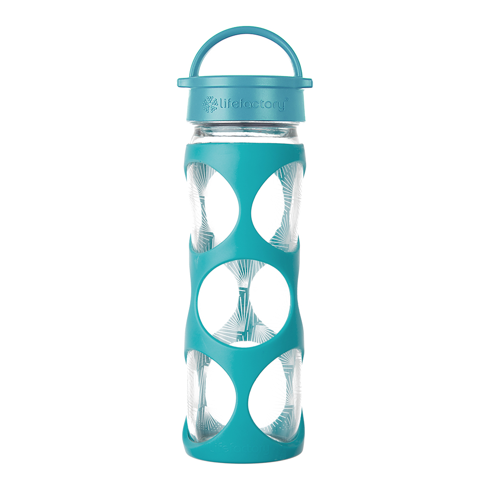 16 oz Glass Bottle with Classic Cap and Silicone Sleeve - Surf Ion