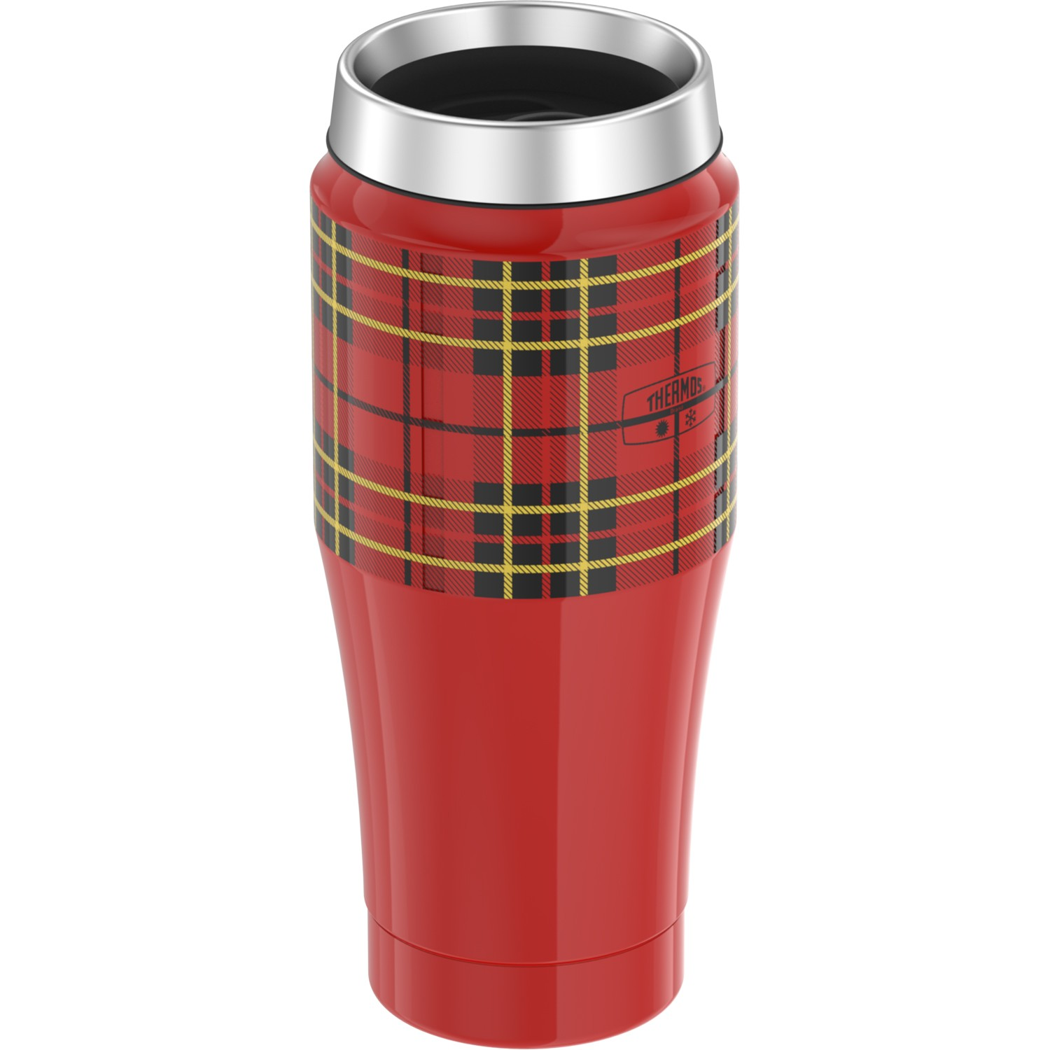 STAINLESS STEEL TRAVEL TUMBLER PLAID 16OZ