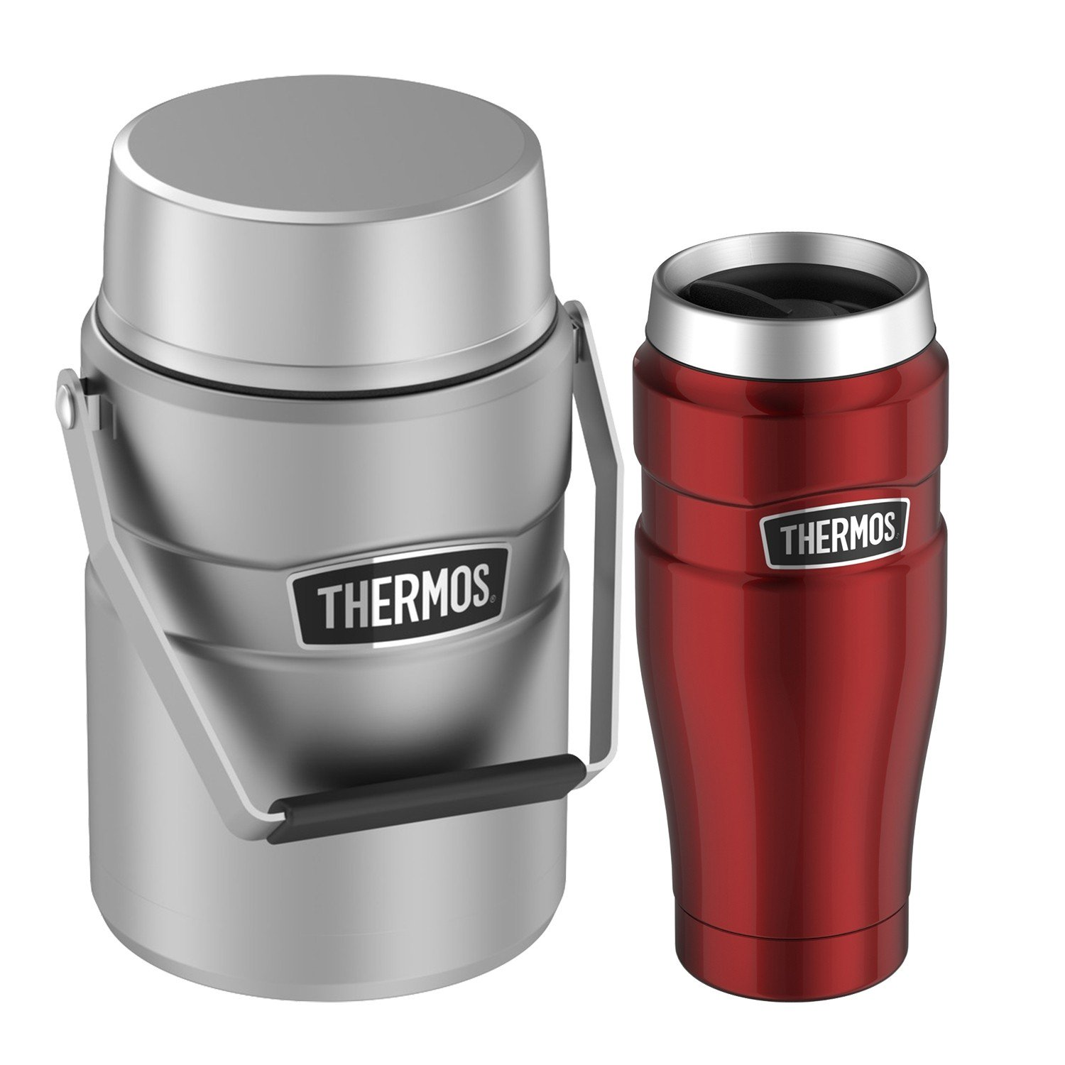 BIG BOSS STAINLESS STEEL 47OZ FOOD JAR AND STAINLESS KING™ STAINLESS STEEL TRAVEL TUMBLER 16OZ