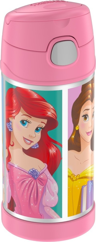 FUNTAINER® STAINLESS STEEL WATER BOTTLE WITH STRAW DISNEY PRINCESS