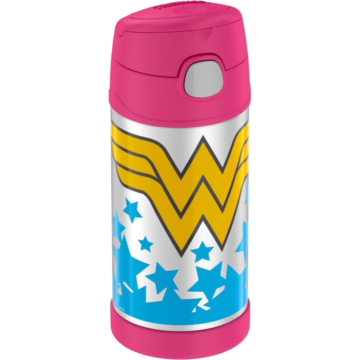 FUNTAINER® STAINLESS STEEL WATER BOTTLE WITH STRAW WONDER WOMAN™